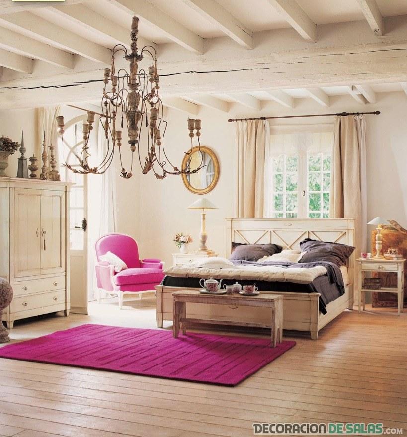 dormitorio rústico en color rosa