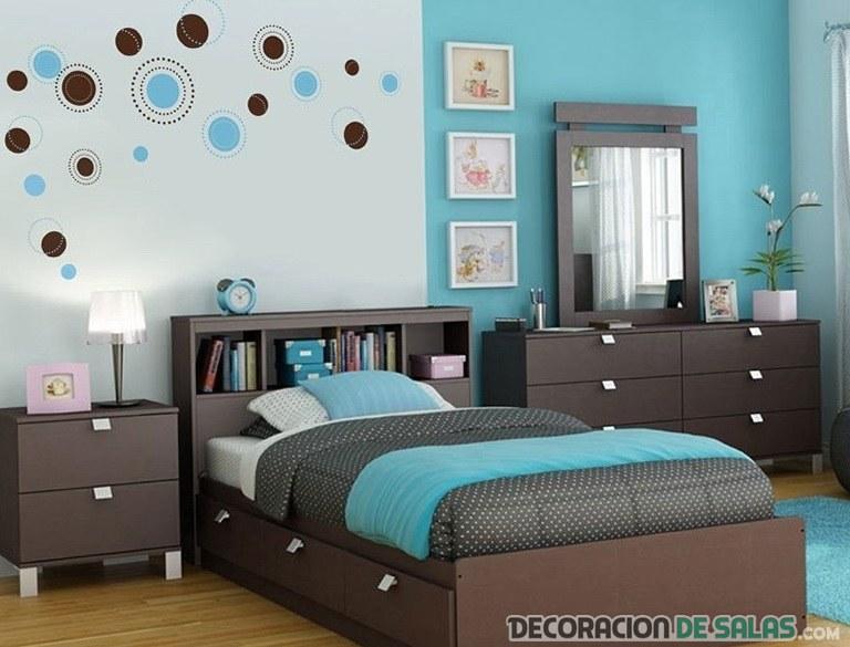 dormitorios en color azul y marrón