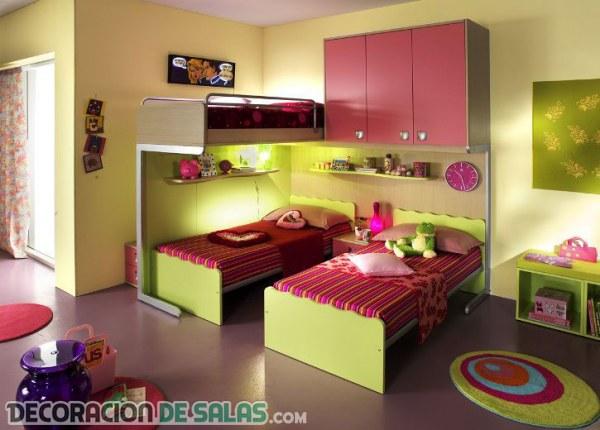 dormitorios con tres camas