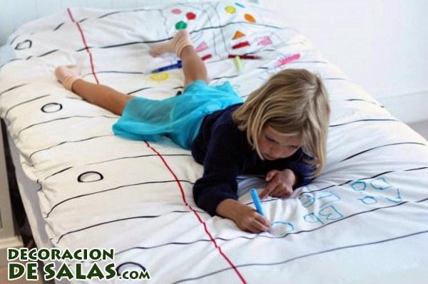Deja que tus hijos pinten este edredón