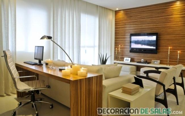 Salas modernas con escritorios integrados for Escritorios para salon