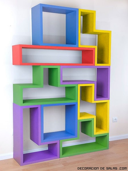 las piezas del tetris en tus estanter as On estanterias de colores