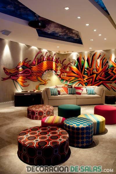 graffiti en el salón