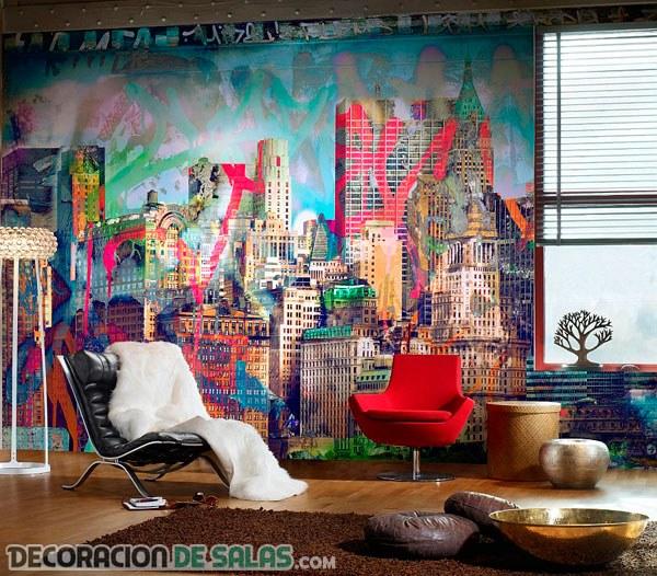 Decoración para interiores con graffitis