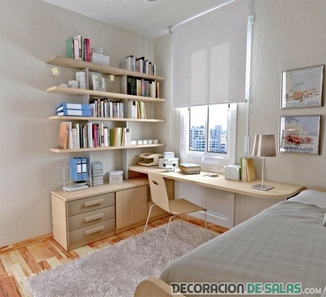habitación decorada con muebles claros