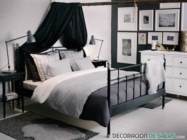 habitación dormitorio en blanco y negro