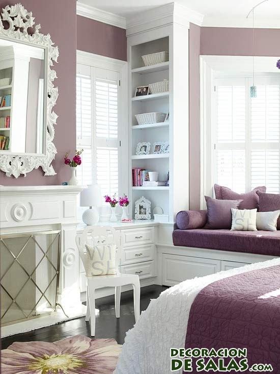 Dormitorios en malva - Wandfarbe mauve ...