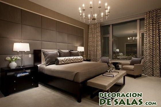 habitación en color marrón y beige