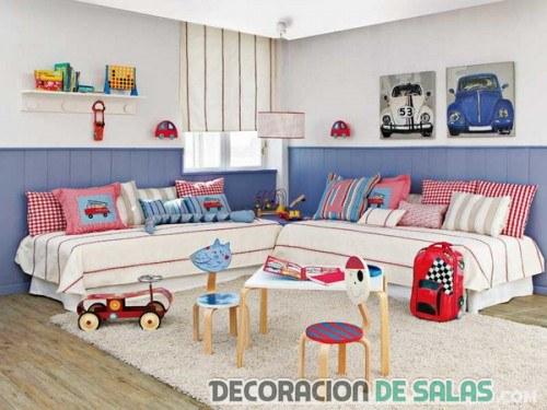 habitación infantil con dos camas sencillas