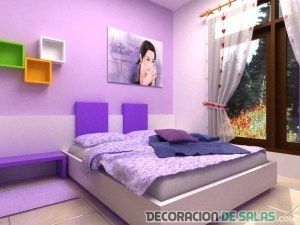 habitación juvenil combinada en lila