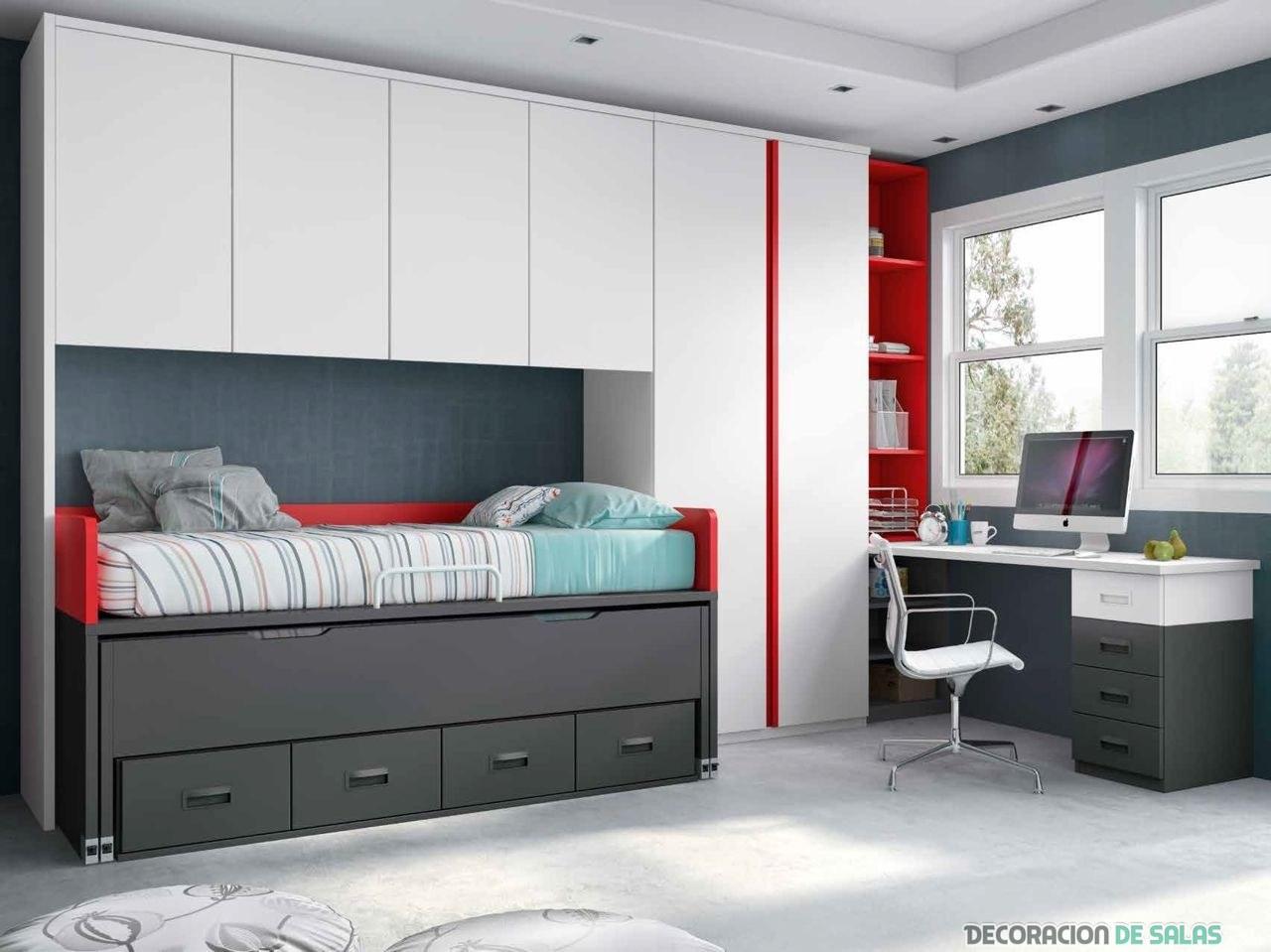 habitación juvenil en blanco con pinceladas en rojo