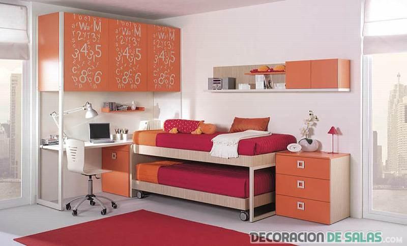 habitacin juvenil en naranja con escritorio