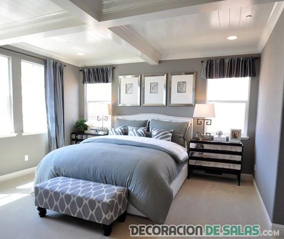habitación matrimonio en colores gris