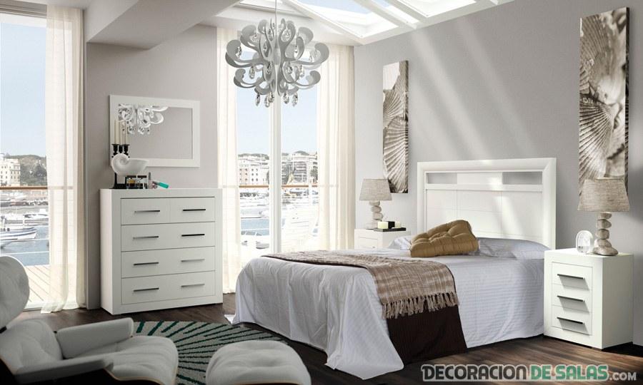 habitación moderna madera blanca