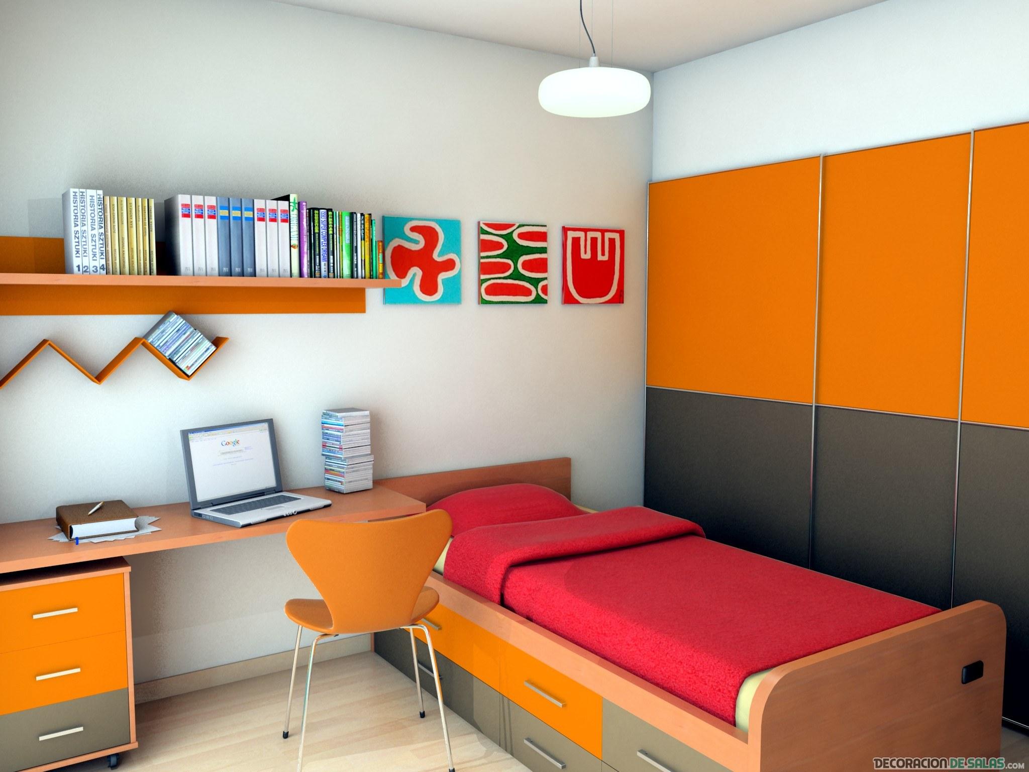 habitación pequeña en color naranja
