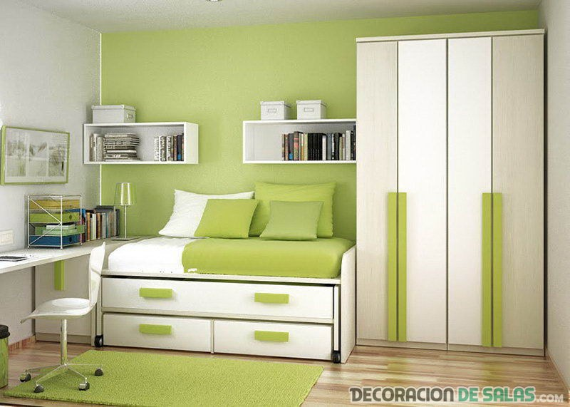 habitación pequeña en verde y blanco