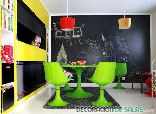 habitaciones infantiles con paredes de pizarra