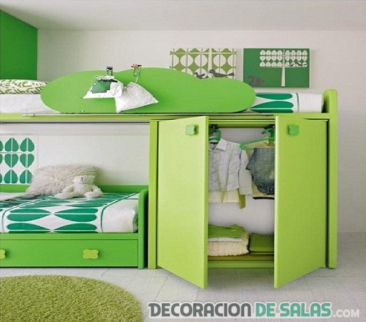 habitaciones infantiles en verde