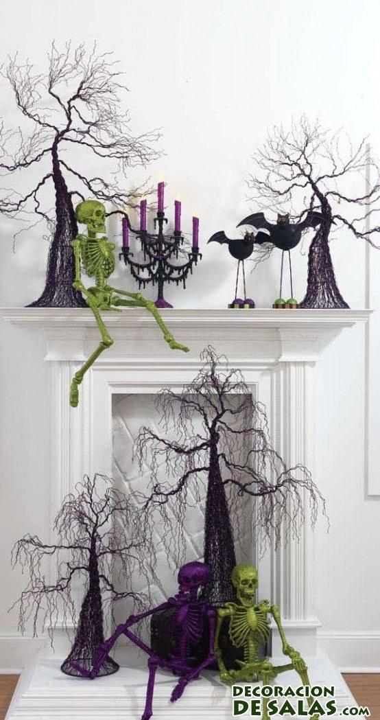 ideas para decorar la chimenea en halloween