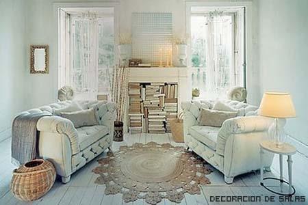 Ideas para el estilo shabby chic for White shabby chic living room furniture