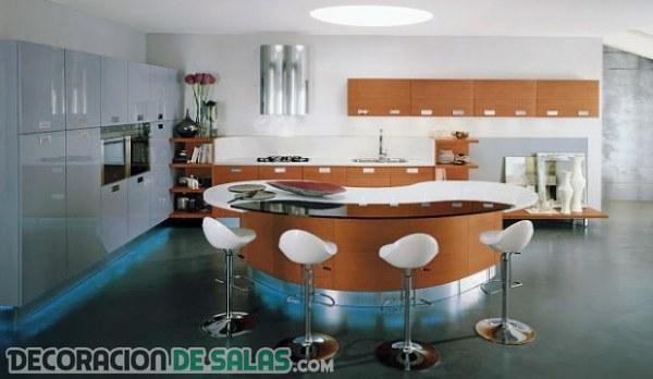 Cocinas con islas semi-circulares