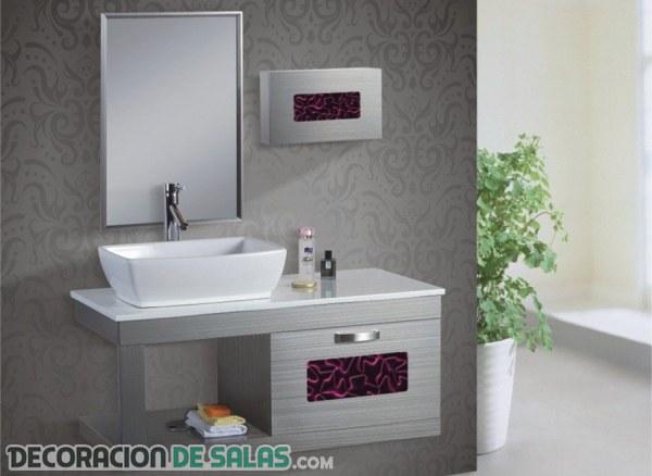 Preciosos lavabos que combinan la madera y el color - Lavabos de colores ...