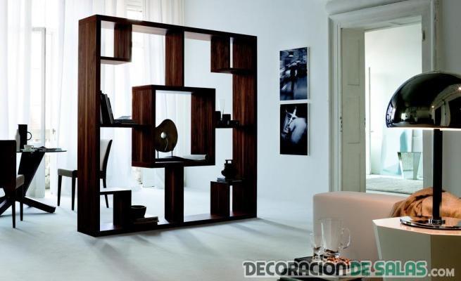 librera separador de ambientes en madera