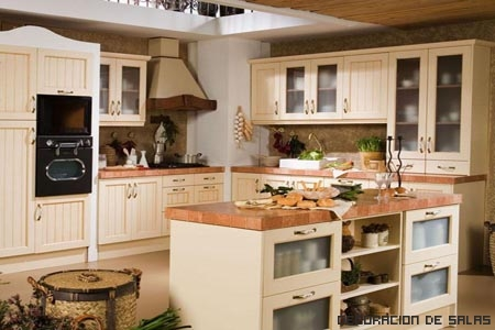 Iluminación de cocina rústica