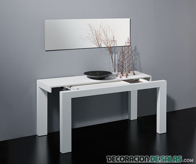 Te gustan las mesas de comedor consola - Mesa extensible blanca ...