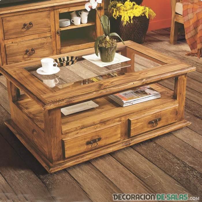 mesa centro estilo rústico