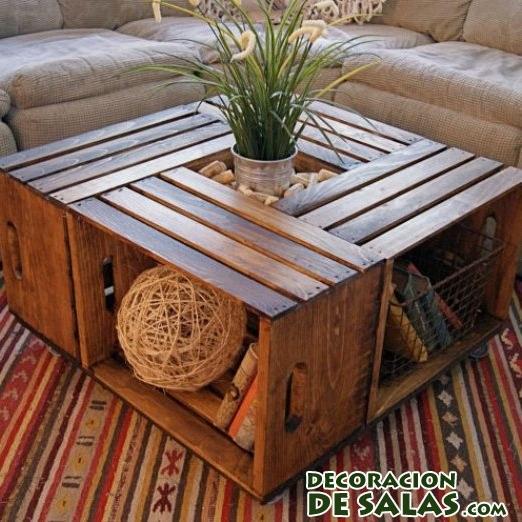 mesa con cajas en madera