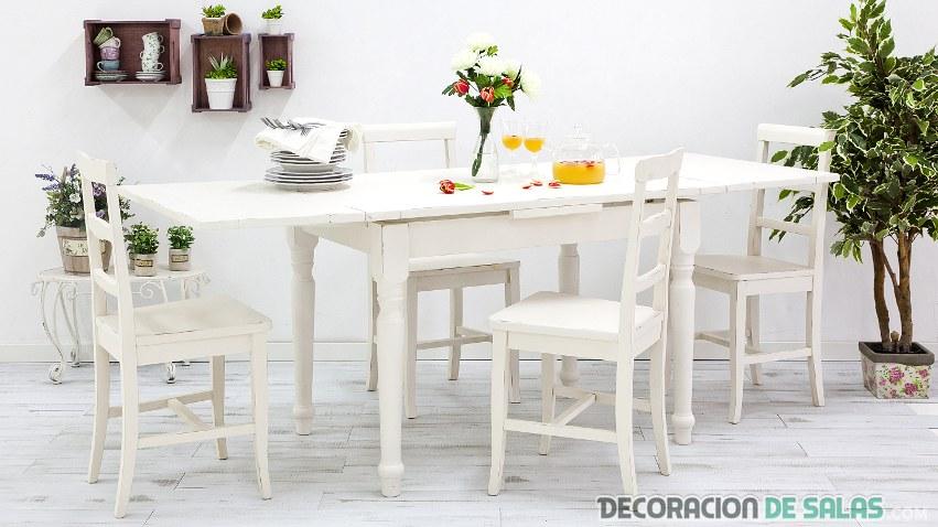 mesa de cocina en color blanco