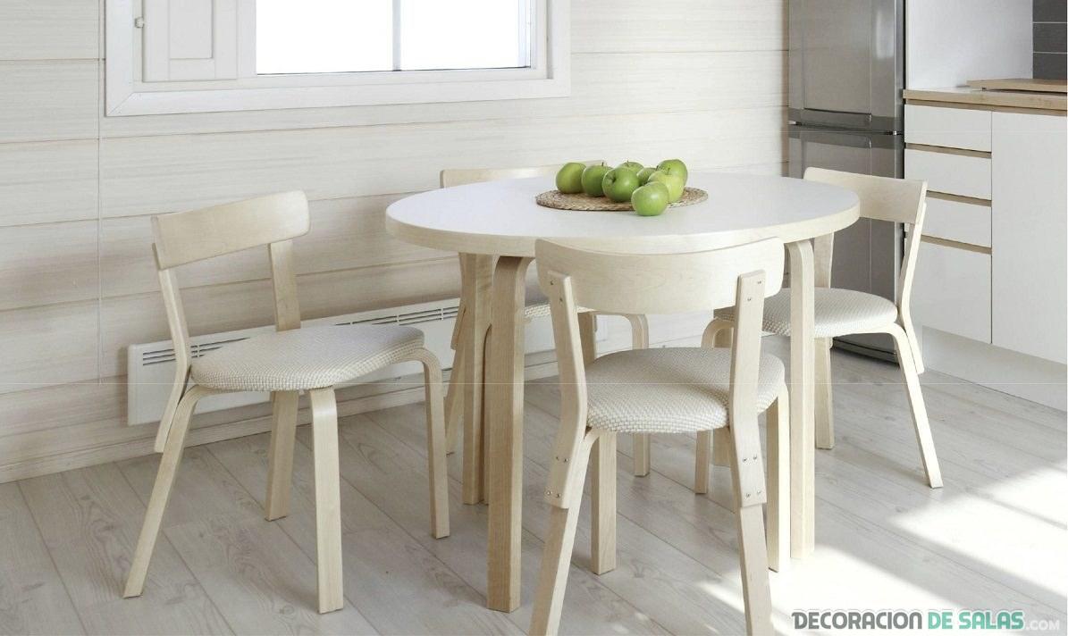 mesa de cocina moderna en blanco