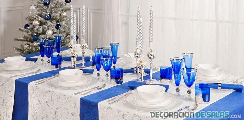 mesa en color azul para navidad