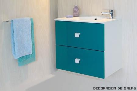 Azul petr leo y gris for Muebles de bano azul