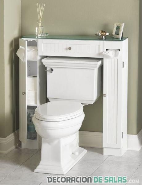 mueble blanco encima del váter