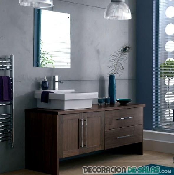 Preciosos lavabos que combinan la madera y el color for Mueble lavabo madera