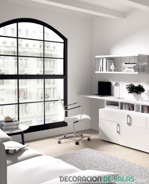 Salas modernas con escritorios integrados - Escritorio salon ...