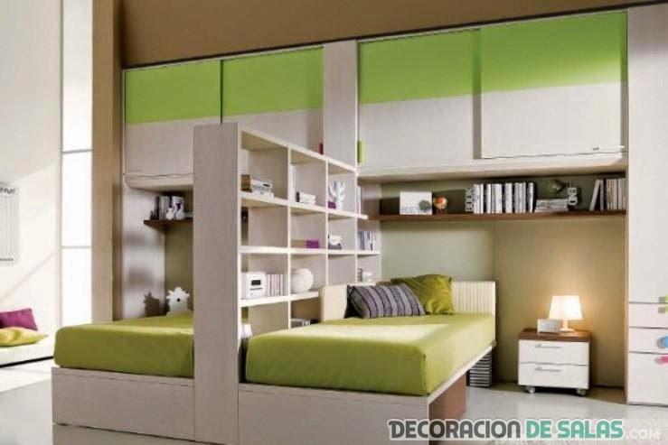 C mo hacer una separaci n de ambientes en dormitorios for Mueble cama doble