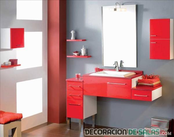 mueble rojo para el baño