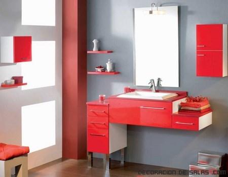 Ba os modernos en color rojo - Muebles de bano rojos ...