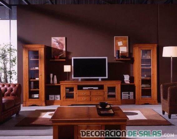 La madera protagonista en la decoraci n - Muebles de madera para salon ...