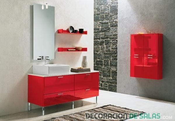 muebles en rojo pasión para baños