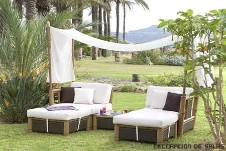 Tipos de muebles para el jardin for Muebles de mimbre para jardin