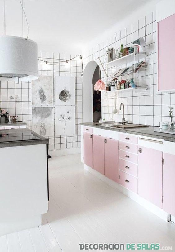 muebles rosa cuarzo para la cocina