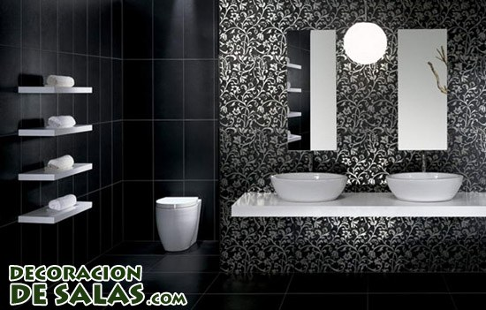 Color negro para ba os for Bathroom tile designs 2012