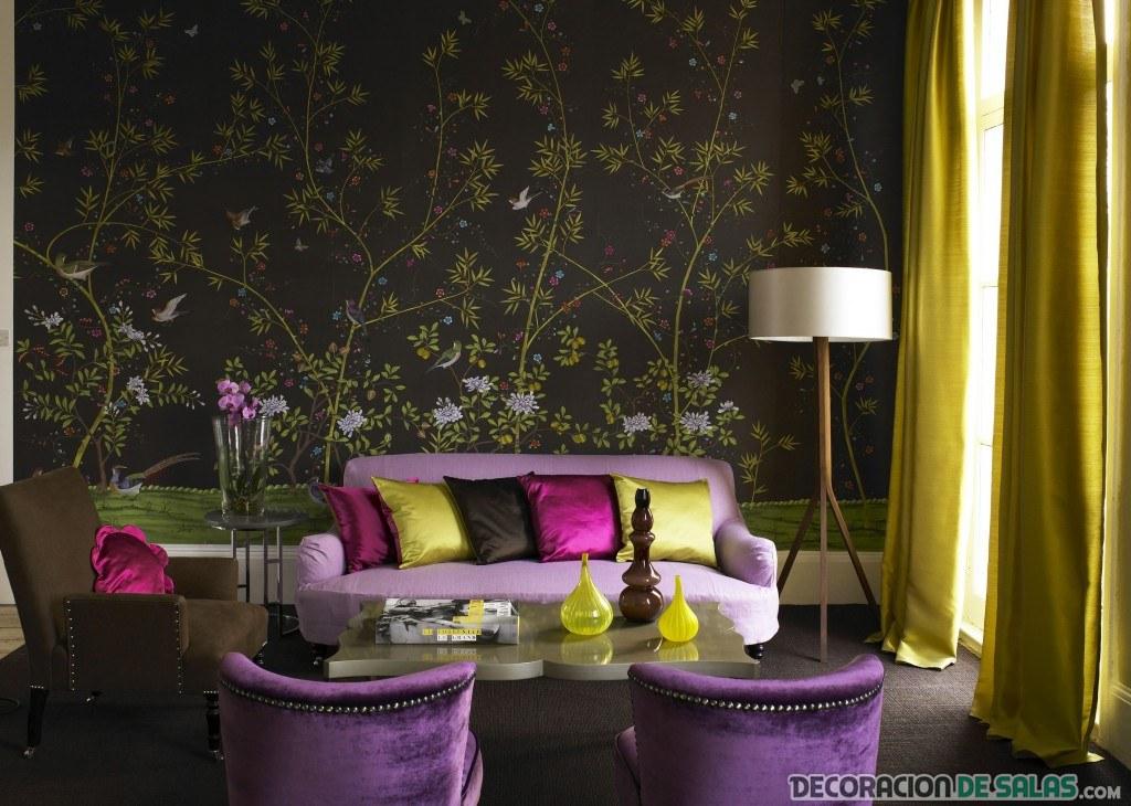 papel pintado en colores oscuros para salón