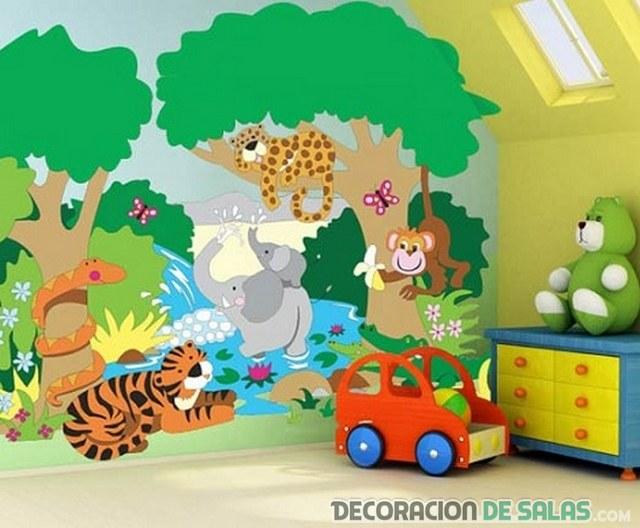 Paredes del dormitorio con grandes dibujos - Habitaciones de ninos pintadas ...