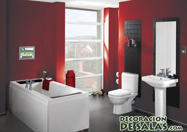 Red And Black Bathroom Design Ideas ~ Baños con pinceladas en color rojo