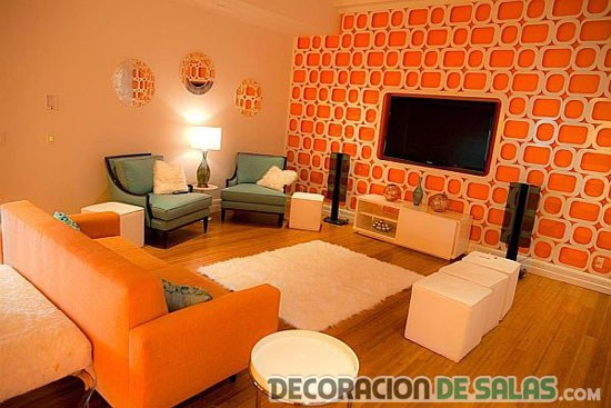 Descubre estos salones en color naranja Orange and red living room design